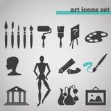 Icone messe dei rifornimenti di arte per dipingere Immagine Stock Libera da Diritti