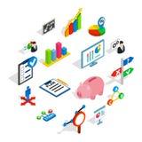 Icone messe, del business plan stile isometrico 3d Immagini Stock Libere da Diritti