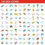 100 icone messe, del mare stile isometrico 3d Immagine Stock Libera da Diritti