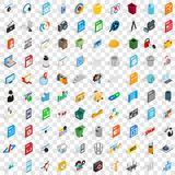 100 icone messe, del pc stile isometrico 3d Fotografia Stock