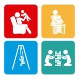 Icone messe della famiglia Fotografie Stock