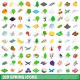 100 icone messe, della molla stile isometrico 3d Fotografia Stock Libera da Diritti