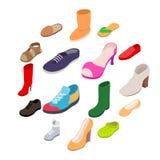 Icone messe, delle scarpe stile isometrico 3d fotografia stock