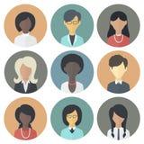 Icone messe di etnico differente della femmina delle persone Fotografie Stock
