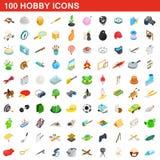 100 icone messe, di hobby stile isometrico 3d Fotografia Stock Libera da Diritti