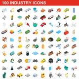 100 icone messe, di industria stile isometrico 3d illustrazione vettoriale