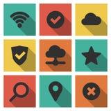 Icone messe di Internet e di tecnologia Fotografie Stock Libere da Diritti