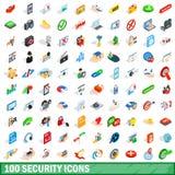 100 icone messe, di sicurezza stile isometrico 3d Fotografie Stock Libere da Diritti