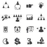 Icone messe, gente di affari di affari Fotografia Stock