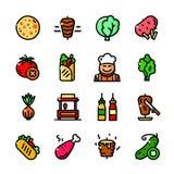Icone messe, illustrazione di Shawarma di vettore Fotografia Stock Libera da Diritti