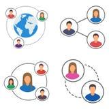 Icone messe, insieme della rete della gente del collegamento della gente Fotografia Stock Libera da Diritti