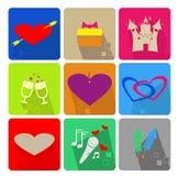Icone messe per il giorno del biglietto di S. Valentino s Immagini Stock Libere da Diritti