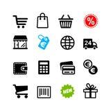 16 icone messe. Pittogrammi di acquisto Fotografia Stock Libera da Diritti