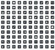 100 icone messe, quadrato di affari, nero Immagini Stock