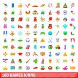 100 icone messe, stile dei giochi del fumetto Immagine Stock Libera da Diritti