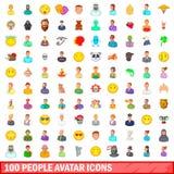 Icone messe, stile dell'avatar di 100 persone del fumetto Fotografie Stock Libere da Diritti