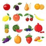 Icone messe, stile della frutta del fumetto Fotografia Stock