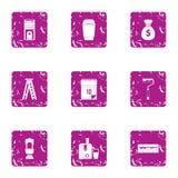 Icone messe, stile della guarnizione di lerciume Fotografia Stock Libera da Diritti