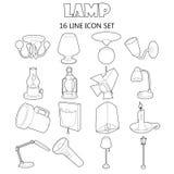 Icone messe, stile della lampada del profilo Immagine Stock