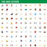 100 icone messe, stile della locanda del fumetto Fotografia Stock Libera da Diritti