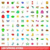 100 icone messe, stile della molla del fumetto Fotografia Stock