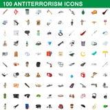 100 icone messe, stile di antiterrorismo del fumetto Immagini Stock Libere da Diritti