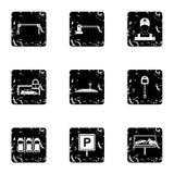 Icone messe, stile di area di parcheggio di lerciume Fotografia Stock