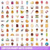 100 icone messe, stile di arti culinarie del fumetto illustrazione vettoriale