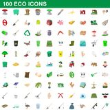 100 icone messe, stile di eco del fumetto illustrazione di stock