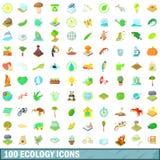 100 icone messe, stile di ecologia del fumetto Fotografia Stock