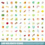 100 icone messe, stile di feste del fumetto Immagini Stock Libere da Diritti