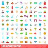 100 icone messe, stile di hobby del fumetto Fotografie Stock Libere da Diritti