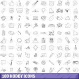 100 icone messe, stile di hobby del profilo Immagine Stock