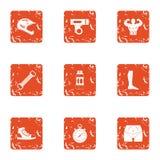 Icone messe, stile di idoneità fisica di lerciume illustrazione di stock