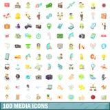 100 icone messe, stile di media del fumetto Fotografie Stock Libere da Diritti