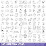100 icone messe, stile di nutrizione del profilo Fotografie Stock