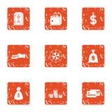 Icone messe, stile di transazione di pagamento di lerciume Immagini Stock Libere da Diritti