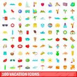 100 icone messe, stile di vacanza del fumetto Fotografie Stock