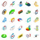 Icone messe, stile isometrico di ora lavorativa Immagini Stock