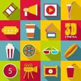 Icone messe, stile piano degli oggetti di film Immagine Stock