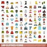 100 icone messe, stile piano dei vestiti Immagine Stock
