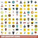 100 icone messe, stile piano del logotype Immagine Stock Libera da Diritti