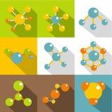Icone messe, stile piano della molecola Fotografie Stock