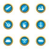 Icone messe, stile piano di affari di silvicoltura illustrazione vettoriale