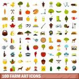 100 icone messe, stile piano di arte dell'azienda agricola Immagini Stock