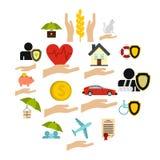 Icone messe, stile piano di assicurazione Immagine Stock