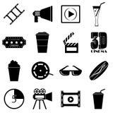 Icone messe, stile semplice degli oggetti di film Immagini Stock
