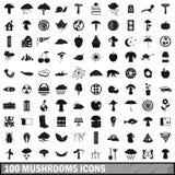 100 icone messe, stile semplice dei funghi Fotografia Stock
