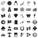 Icone messe, stile semplice del black jack Immagini Stock