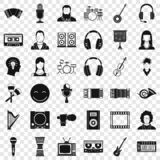 Icone messe, stile semplice del musicista royalty illustrazione gratis